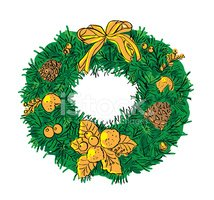 Wreath,Old-fashioned,Holly,...