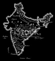 India,Map,Old,Cartography,G...