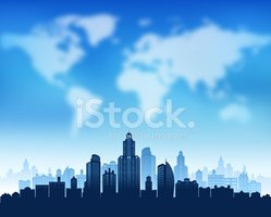 World Map,Urban Skyline,Built…