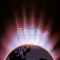 Earth,Pink Color,Glowing,Gl...
