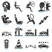 Auto safety testing black & white vector icon set
