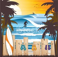 Surfing,Beach,Surf,Vector,T...