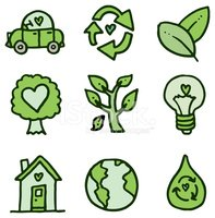 Recycling and environment doodle icon set