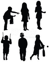 Silhouette,Child,Rear View,...