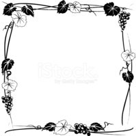 Hand Drawn Grapevine Square Frame in Black and White