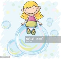 Little girl  sitting on the bubble