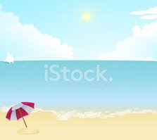 Beach,Sunset,Parasol,Pink C...