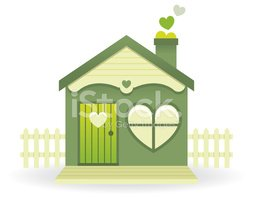 Little green house with love hearts