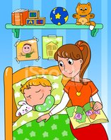 Child,Reading,Mother,Bedroo...
