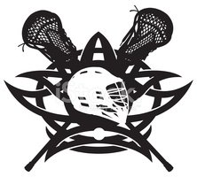 Lacrosse Icon with Attack Sticks and Helmet