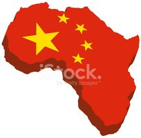 3d african continent - Chinese flag