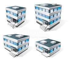 Four Office Buildings Cartoon Icons Stock Vectors Clipartme