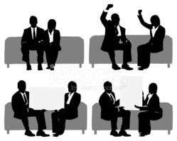 Silhouette,Sitting,Business...