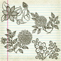Set of Hand-Drawn Flowers on Old Paper