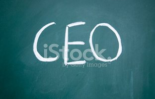 ceo symbol drawn with chalk on blackboard