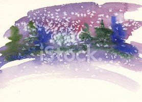 Winter,Watercolor Painting,...