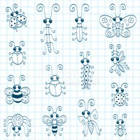 Ant,Bee,Doodle,Praying Mant...