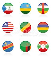 African Country Flag Buttons
