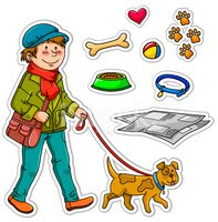 Dog,Walking,Cartoon,Care,Te...