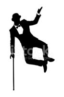 Silhouette of a man holding cane and dancing