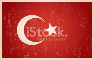 Turkish flag in grunge and vintage style.