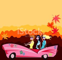 Convertible,Women,Car,Retro...