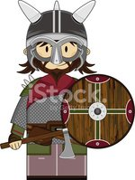 Viking Warrior with Axe and Shield