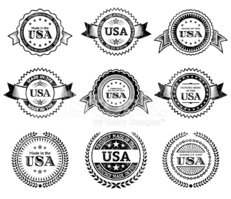 Made in the USA Badge black & white icon set