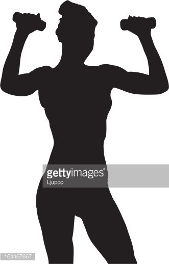 Vector of a woman exercising with dumbbels