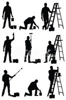 Ladder,Silhouette,Paintbrus...