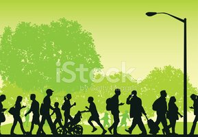 City Park - Busy People Walking, Fitness, Lifestyle Background