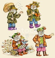 Little funny forest old man characters