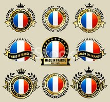 Made in the France patriotic Badge vector icon set