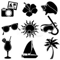 tropical vacation icons