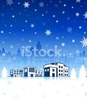 Suburban House with City Skyline on Holiday Winter Background