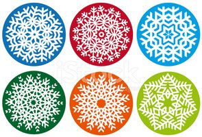 Snowflake set, vector design elements
