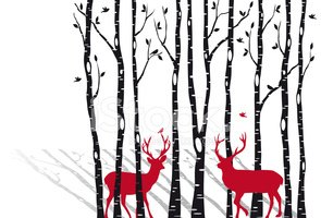 Birch Tree,Winter,Deer,Chri...