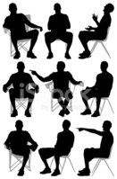 Silhouette,Sitting,People,C...
