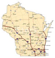 Wisconsin,Map,Highway,Road...