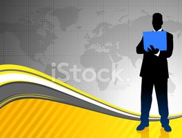 Businessman and Laptop with World Map Background