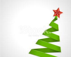Christmas green tree from ribbon vector background