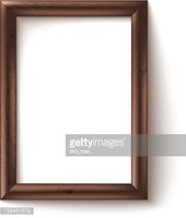 Wooden rectangular 3d photo frame with shadow