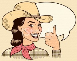 Cowgirl,Retro Revival,Comic...