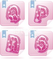Letter P,Pink Color,White,B...