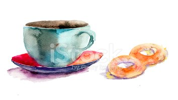 Watercolor Painting,Cup,Pla...