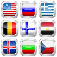 metal square national flags