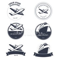 Vector illustration of air and cruise tours icons