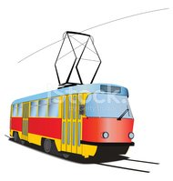 Classic Czech tramway in vector. Multicolored