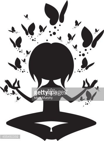 yoga girl in silhouette with butterflies stock vectors