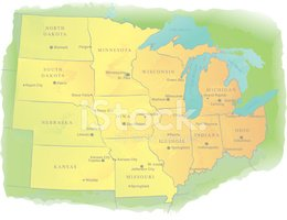 Map,Cartography,Midwest USA...